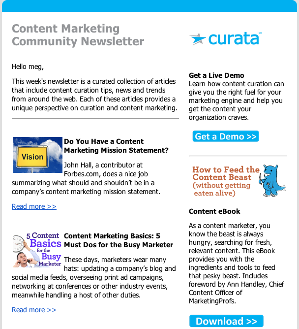 Content Marketing Examples Most Popular Curation Templates - Newsletter content template