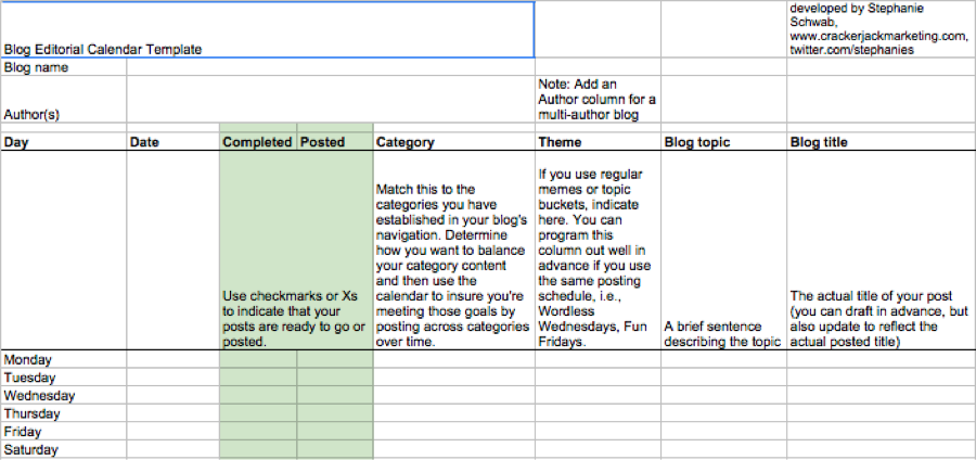 Google Sheets This Template Has A Section Specifically For Measuring Content Performance Cj
