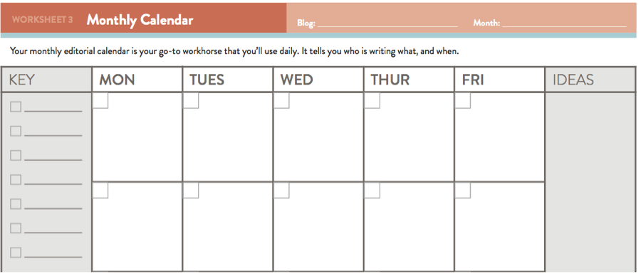 Editorial Calendar Templates For Content Marketing The Ultimate List - Monthly social media calendar template