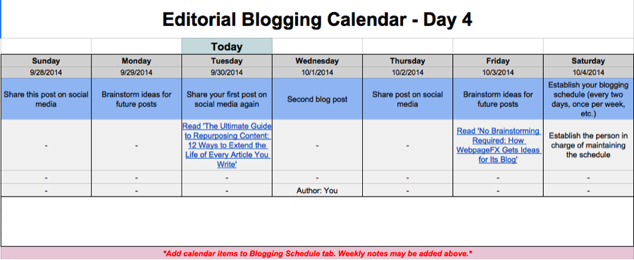 Editorial Calendar Templates For Content Marketing: The Ultimate List  Days Of The Week Calendar Template