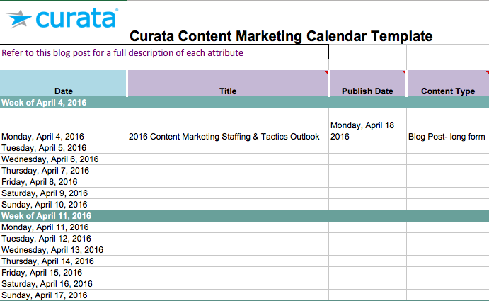 Editorial Calendar Templates For Content Marketing The Ultimate List - Blog post schedule template