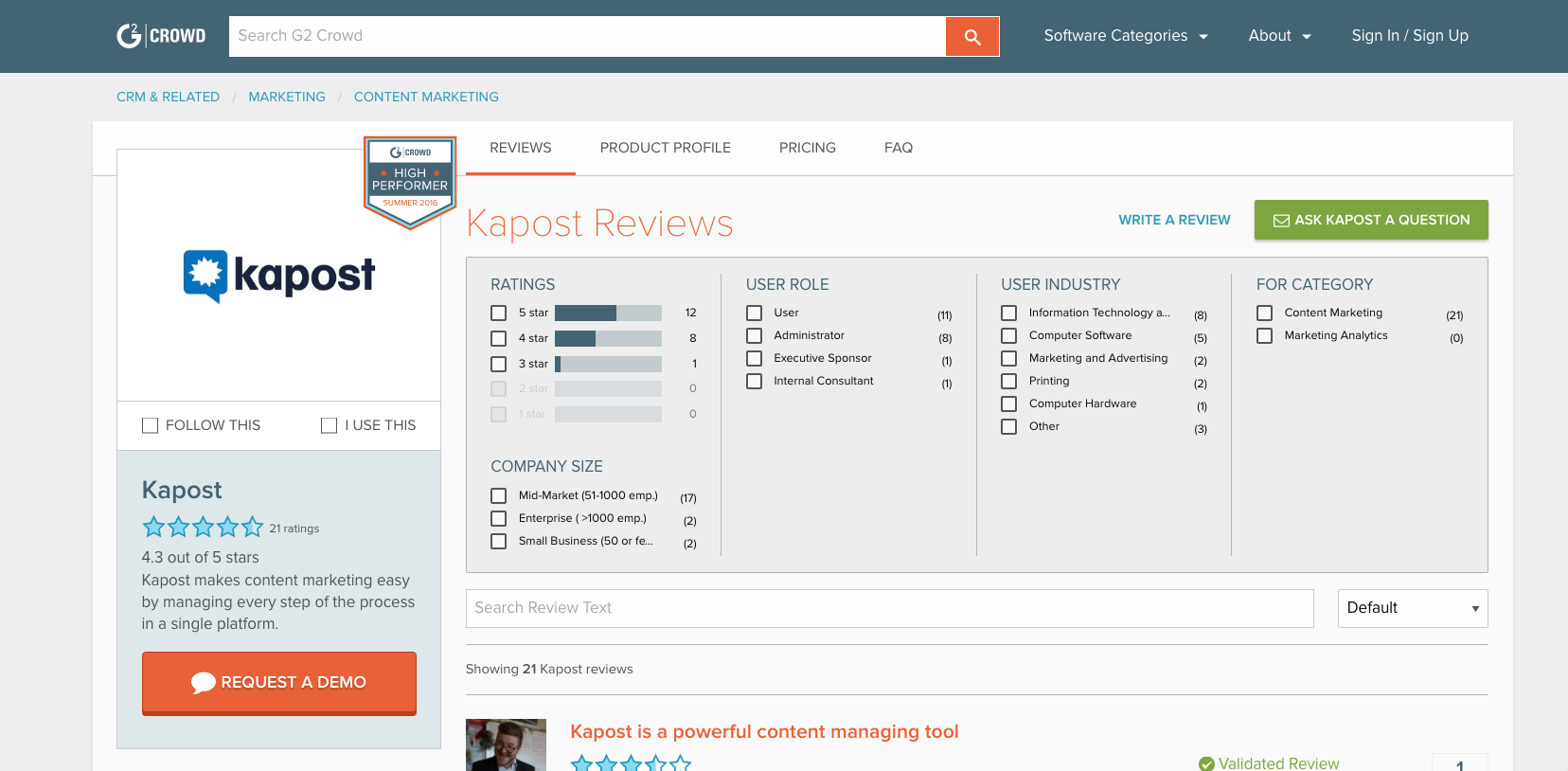 content marketing tools: Kapost