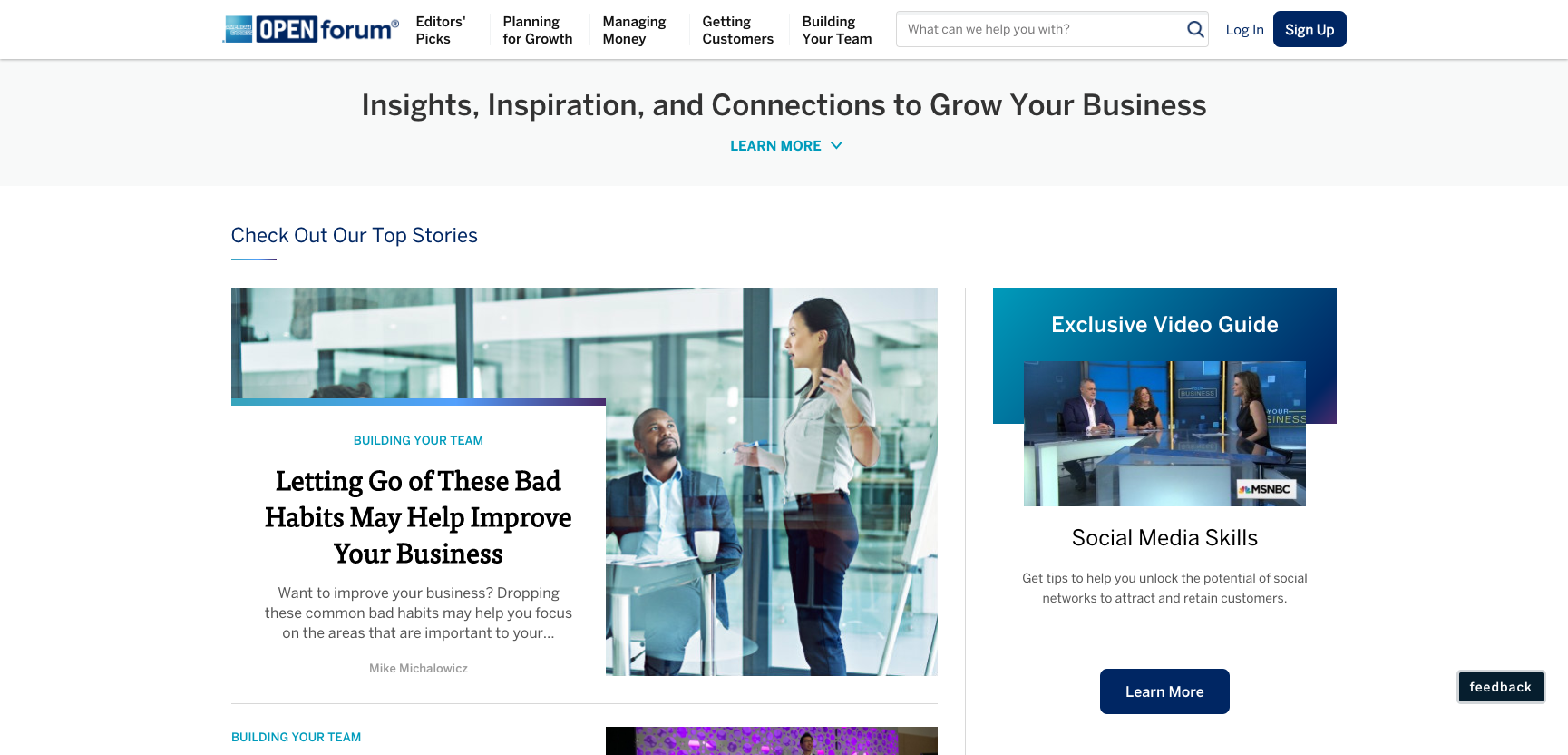 Amex OPEN forum content marketing example